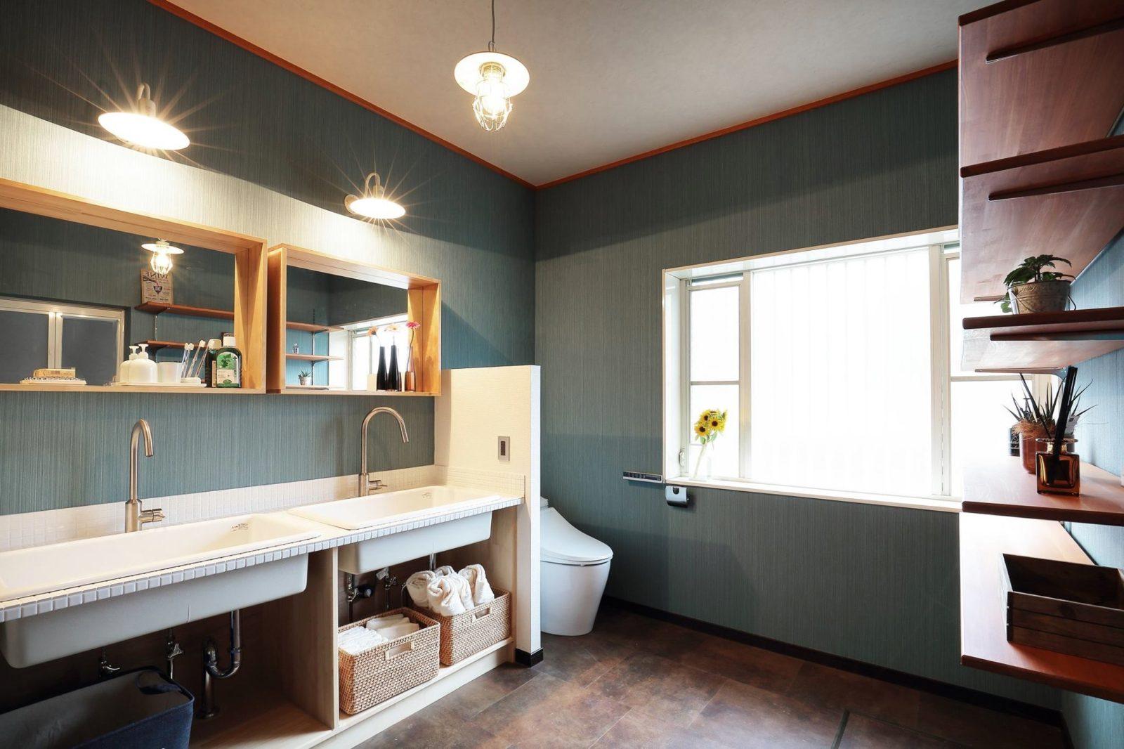 【洗面所】新規トイレ設置、造作洗面台、壁クロス、床フロアタイル